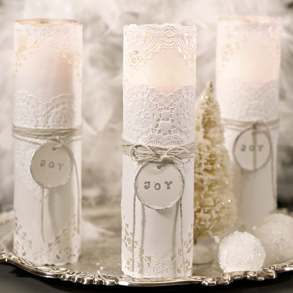 Joy Embellished Candles DIY | Shabby Sweet Cottage