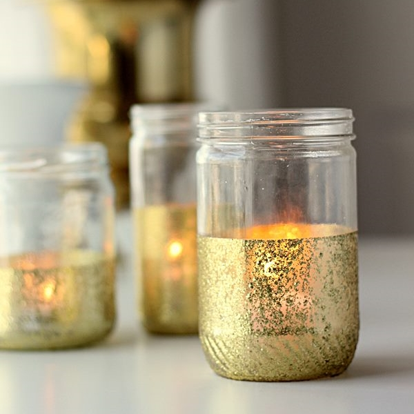 Simple DIY Gold Glitter Painted Jars | Madigan Made