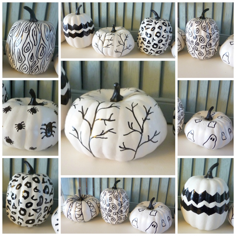 black and white hand sketched sharpie marker pumpkins