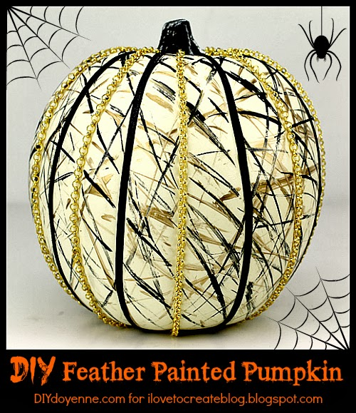 DIY Feather Painted Pumpkin | DIY Doyenne for iLoveToCreate