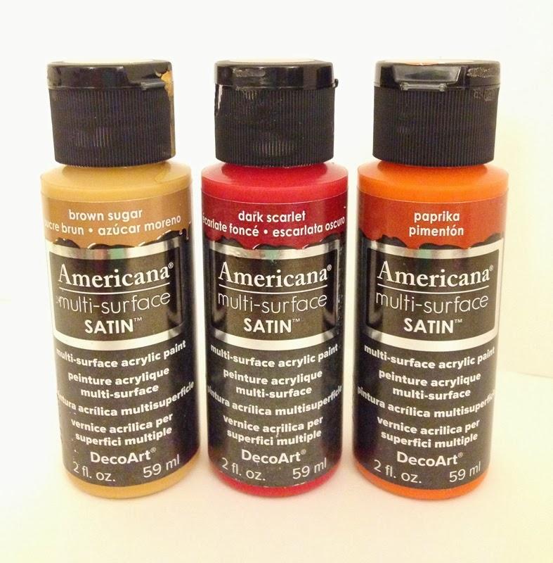 DecoArt Multi-Surface Paints in Fall colors: Brown Sugar, Dark Scarlet, Paprika