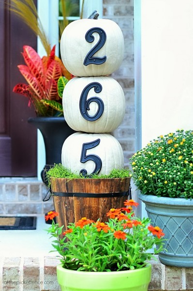 House Numbers Pumpkin Topiary Tutorial | At The Picket Fence
