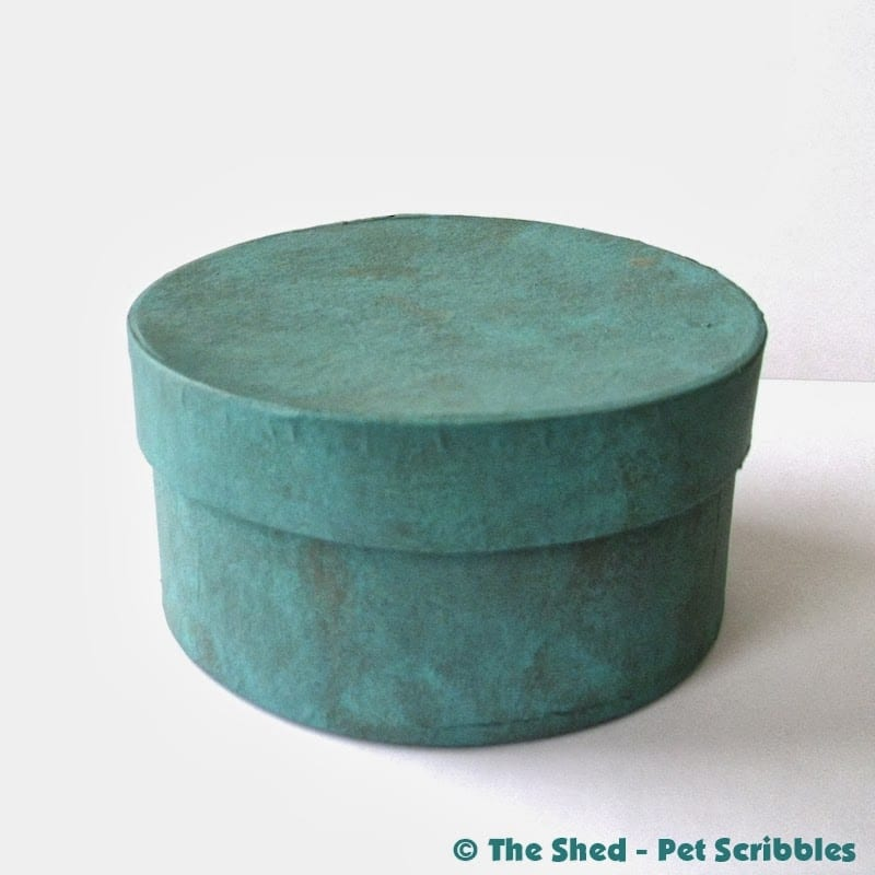 finished painted paper maché box in aqua and grey