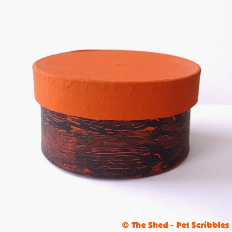 Finished Paper Maché Box in orange and black using an easy crackle technique.