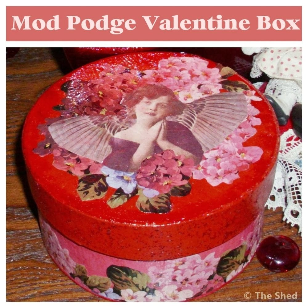 Sweet Victorian Ephemera Valentine Paper Maché Box, vintage-style!