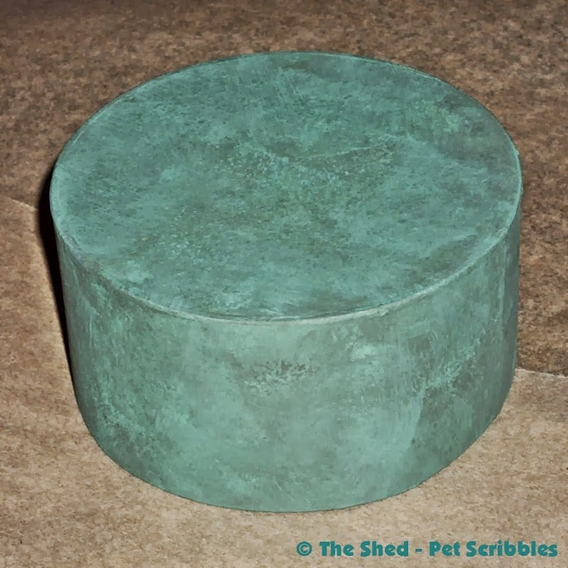 Paper Maché Box, painted in aqua and grey craft paint