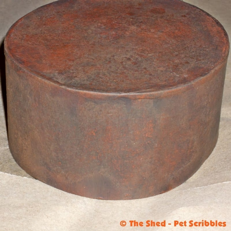Paper Maché Box, painted in orange and grey-black craft paint for a primitive, grungy look.