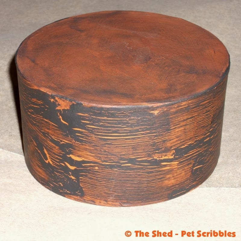 Paper Maché Box, painted with a crackle finish in orange and black.