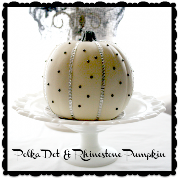 Polka Dot & Rhinestone Pumpkin DIY | Cupcakes and Crinoline