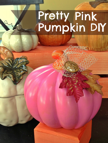 Pretty Pink Pumpkin DIY: Turn a cheap, plastic Halloween Jack-o-Lantern into pretty Fall decor you can enjoy all season long!