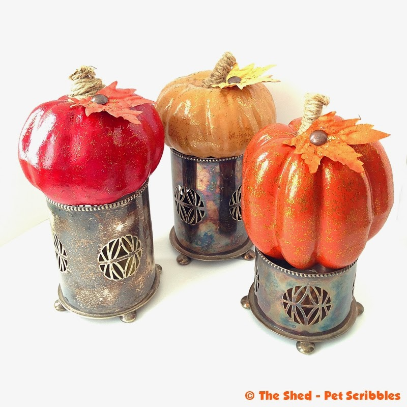 Tone on Tone Glitter Pumpkin Trio in antique silver cups