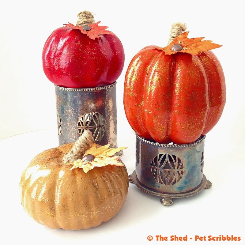 Tone on Tone Glittered and Painted Pumpkins - easy dollar store pumpkins makeover!