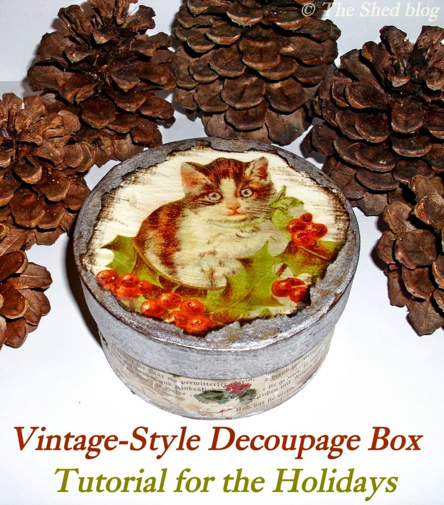 Christmas Cat Decorative Paper Maché Box, vintage-style!