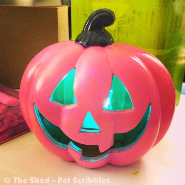This pretty pink pumpkin is all smiles now that he's getting a makeover!