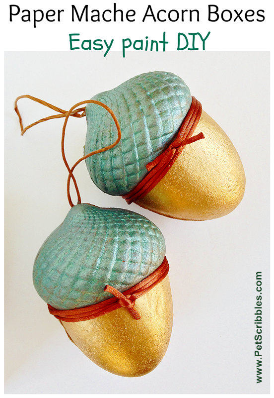 Acorn Boxes: painted, gilded and glazed! An easy DIY!