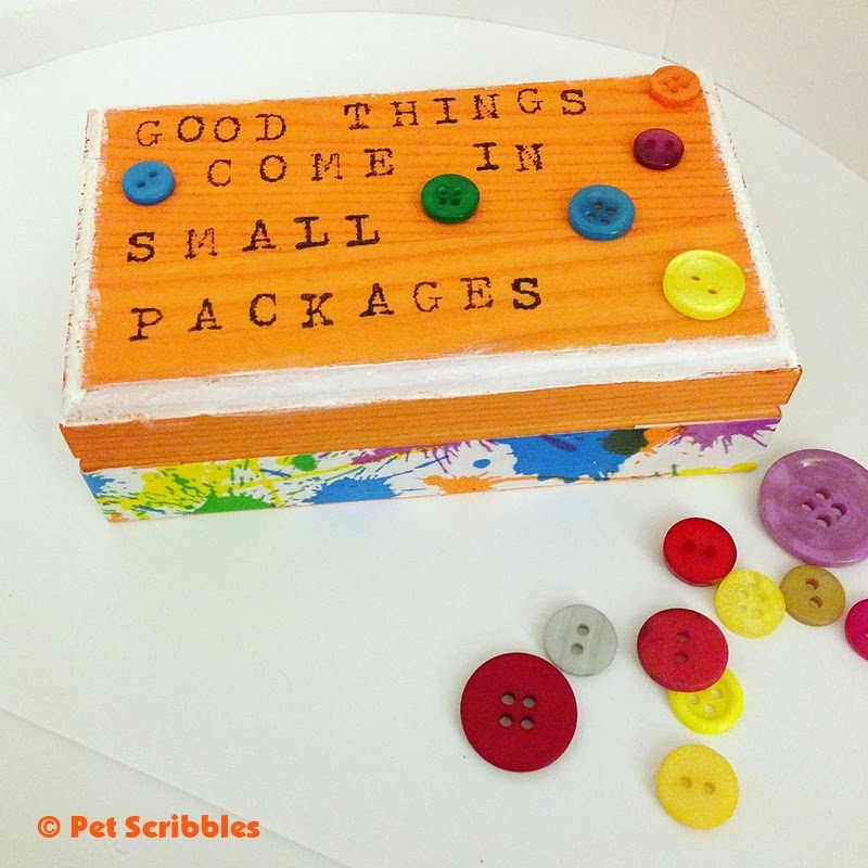 DIY Decorative Box: using dye, paint, duck tape, rubber stamps and buttons