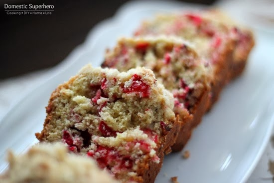Cranberry Walnut Bread with Crumble Topping {from Domestic Superhero}