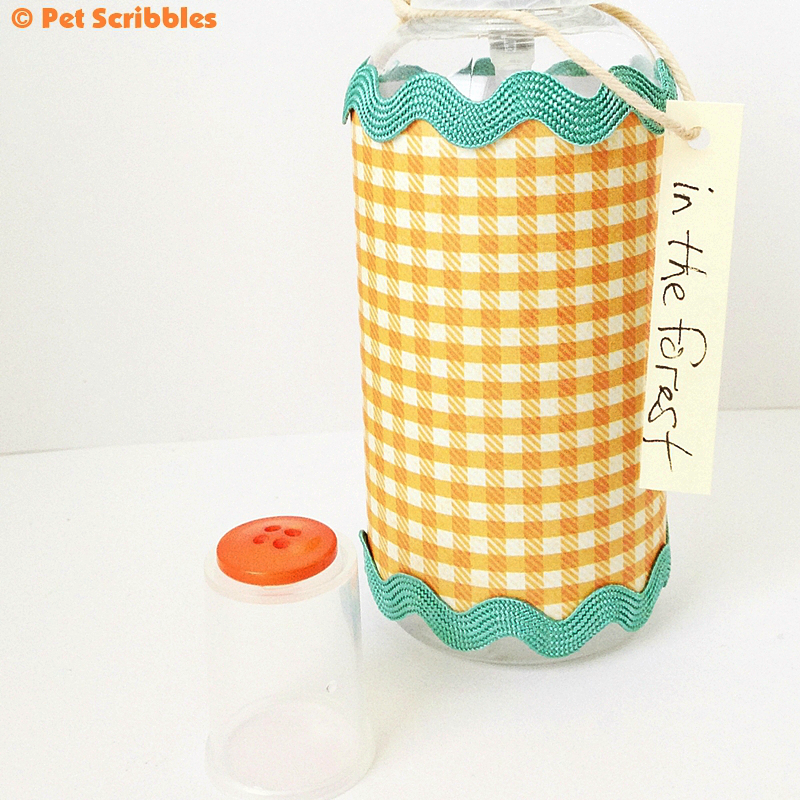 DIY Air Freshener: customize the bottle with seasonal decorative scrapbook papers and trims!