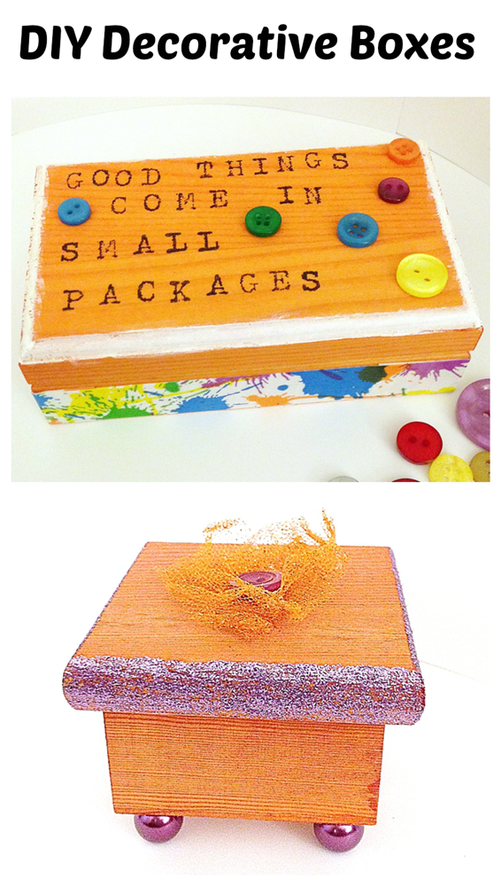 DIY Decorative Boxes: two examples of unfinished wood boxes transformed with dye, paint, rubber stamps, buttons, beads and tape!
