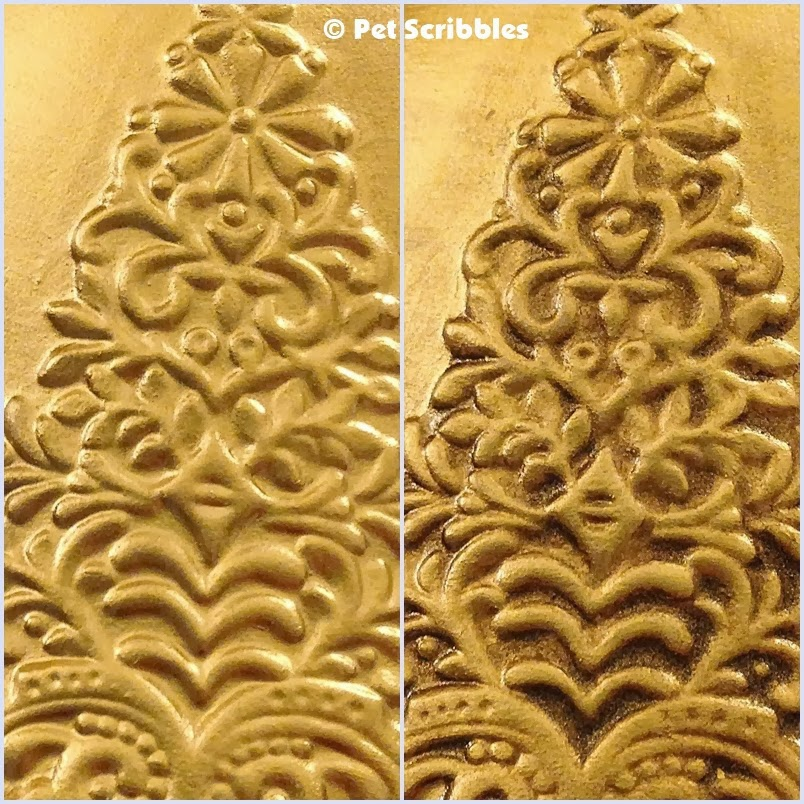 On the left is the liquid gilding. On the right, a brown metallic glaze was added.