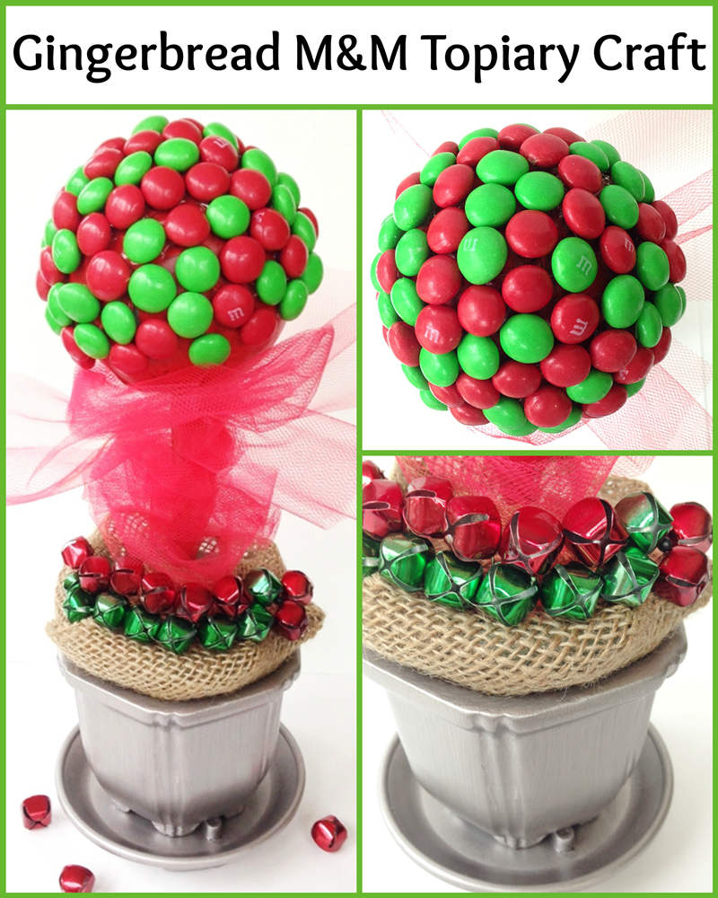 Gingerbread M&Ms Topiary Craft for Christmas