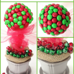 Holiday Decorating Ideas: Gingerbread M&Ms Topiary Craft for Christmas
