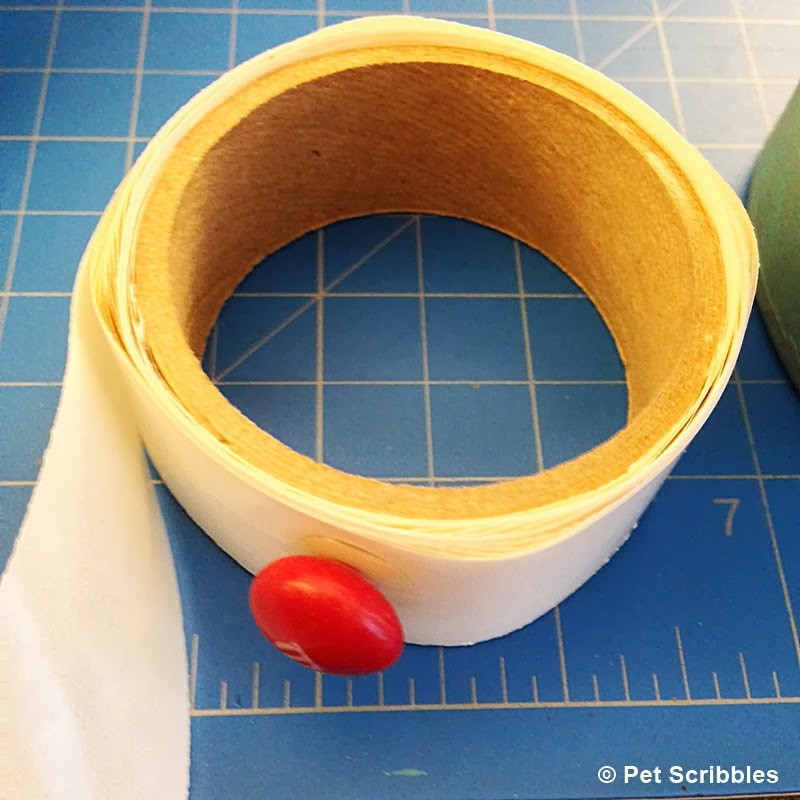M&M attached to glue dot strip (for M&M Topiary craft)