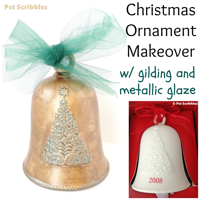 Have an ornament you don't like? Transform it with liquid gilding and metallic glazes!