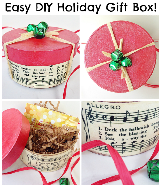 Easy DIY Holiday Gift Box: can be made in 15 minutes! Great for gift cards, jewelry or candy!