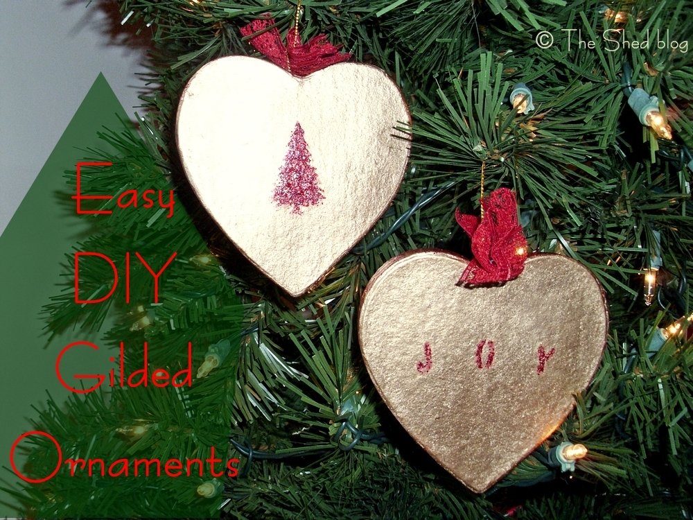 Easy DIY Gilded Ornaments using liquid gilding and glitter paint!