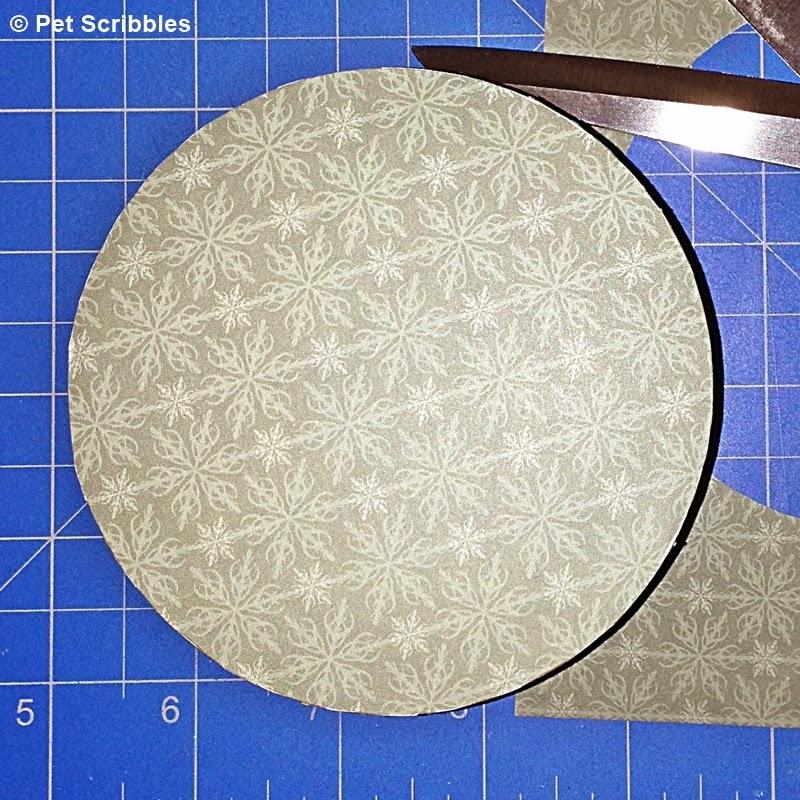 decorative paper decoupaged onto box bottom