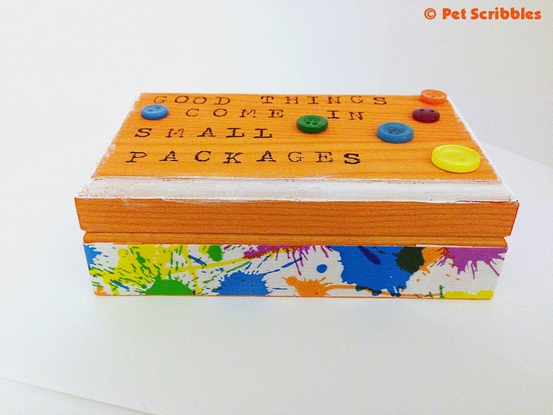 Colorful Button Box - dyed orange and decorated with duckling duck tape, paint, and buttons!