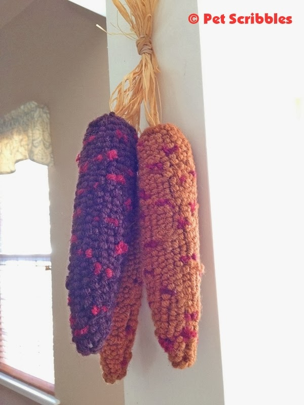 felted indian corn decoration, hanging in the kitchen