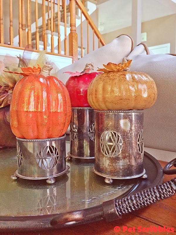 glittered pumpkin trio in old silver cups