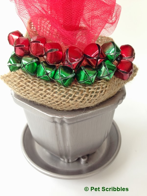 jingle bells attached to base of Gingerbread M&M Topiary craft