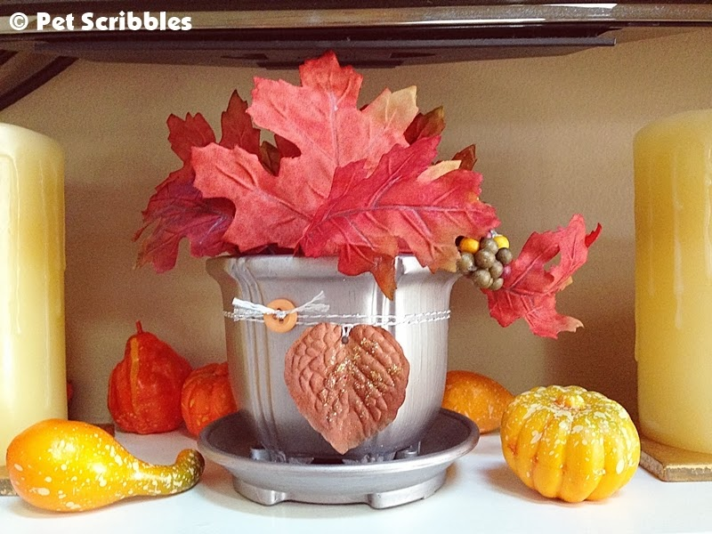 My silver cachepot, decorated for Fall