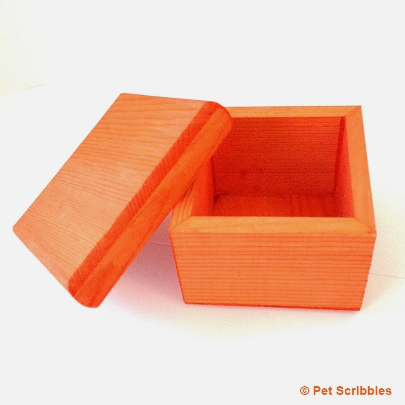 An unfinished wood box, dyed orange, in only 15 minutes!
