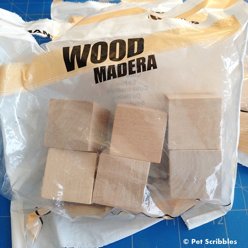 unfinished wood blocks, 1 inch, found at the home improvement store