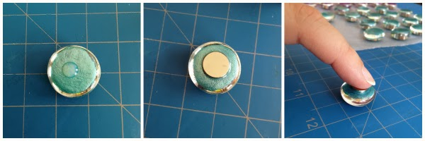 Glitter Marble Magnets DIY: easy steps on attaching the magnets to the glass gems