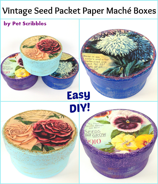 Vintage Seed Packet Paper Maché Boxes: an easy Mod Podge gift to make for gardeners!