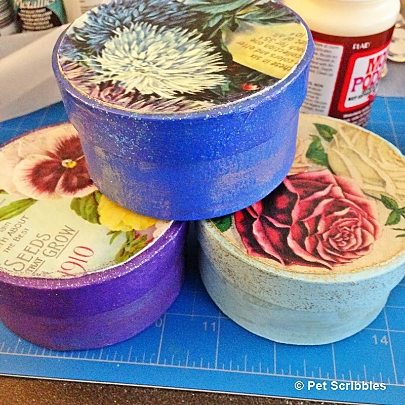 Paper maché boxes painted and glittered, with vintage seed packets Mod Podged onto the lids!
