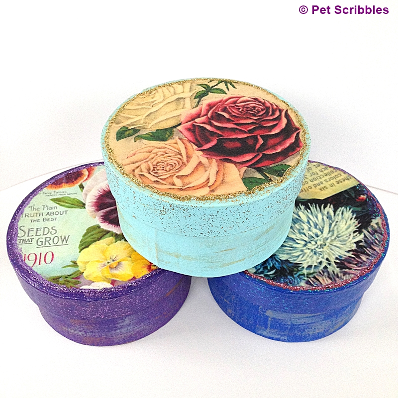 A trio of vintage seed packet paper maché boxes: make some for a sweet gift or to hold a gift card!