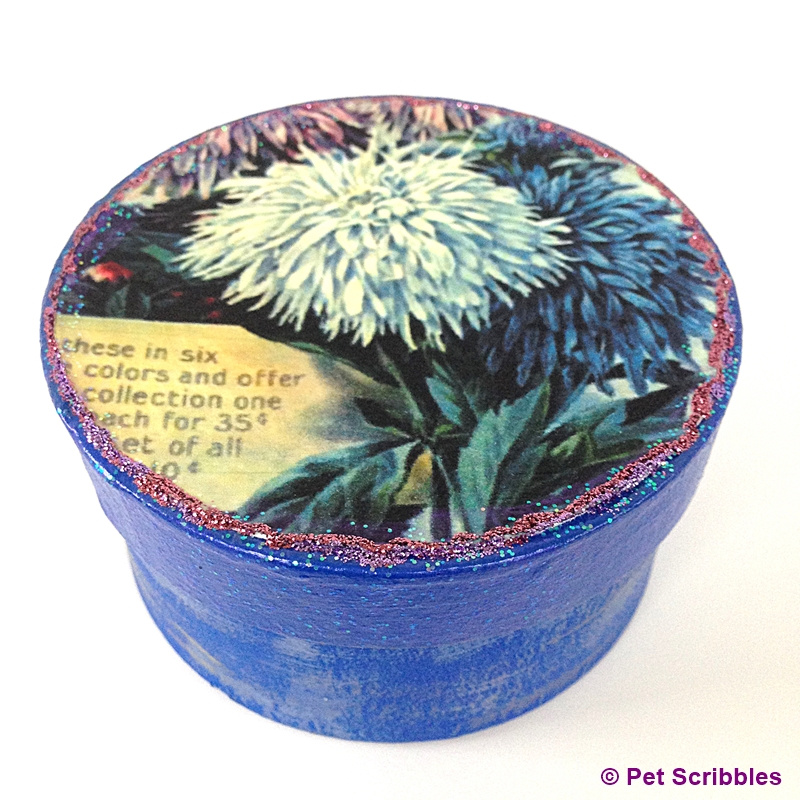 Asters Vintage Seed Packet Paper Maché Box: a lovely Mod Podge keepsake gift for gardeners!