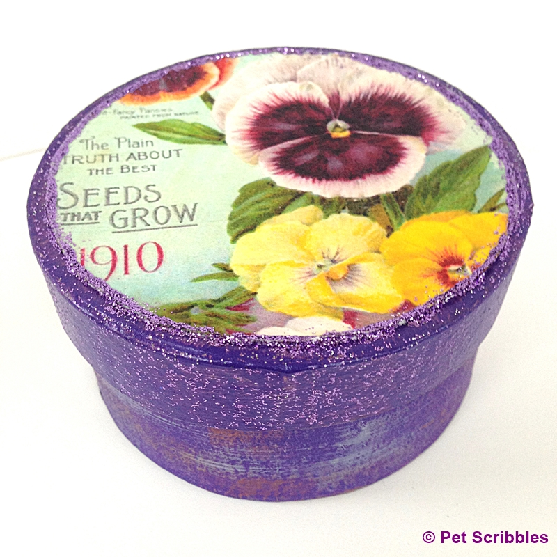 Pansies Vintage Seed Packet Paper Maché Box: a pretty handmade gift for gardeners!