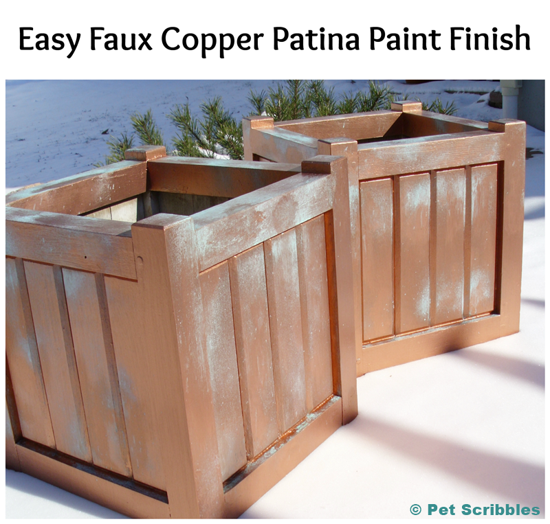 Old wooden planter boxes get an easy faux copper patina paint finish! #DIY #ModernMasters