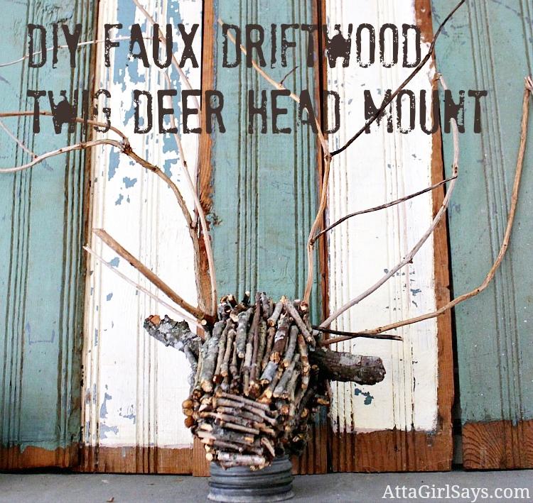 Handmade Twig Deer Head DIY from Atta Girl Says