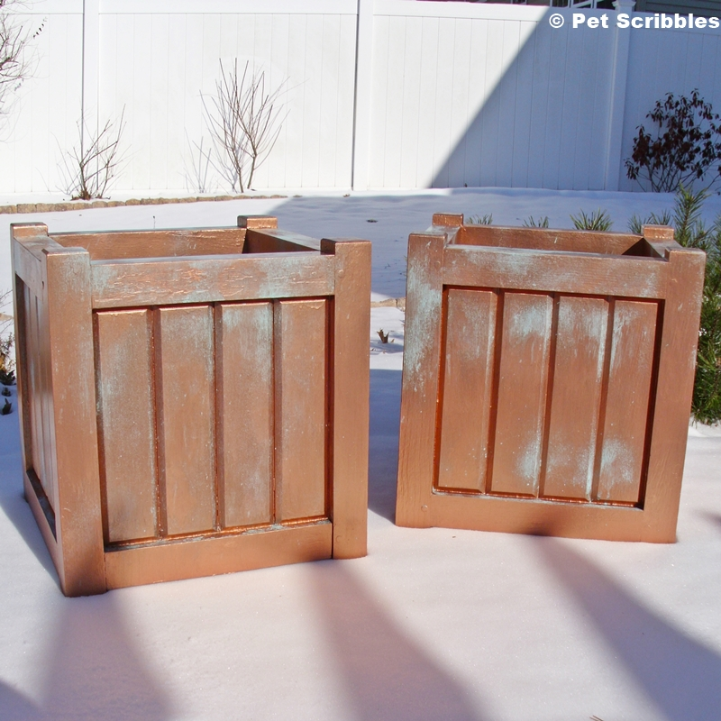 Faux Patina Finish on Wood Planter Boxes