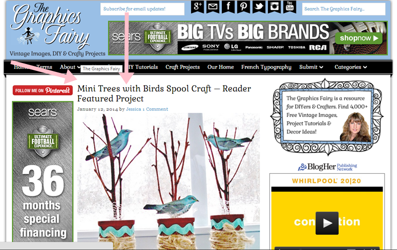 Featured Project on The Graphics Fairy, January 12, 2014