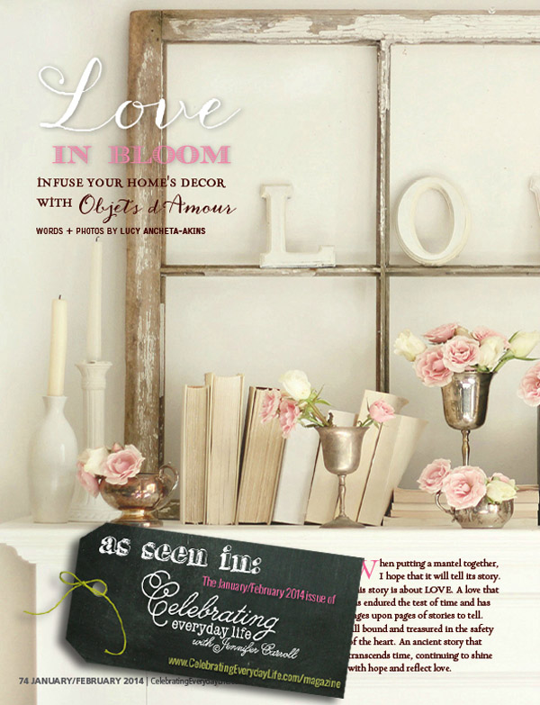 Pretty Valentine-themed decor in the January/February edition of Celebrating Everyday Life magazine!