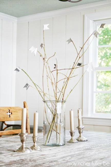 Twig and Paper Flag Centerpiece DIY by May Richer Fuller Be